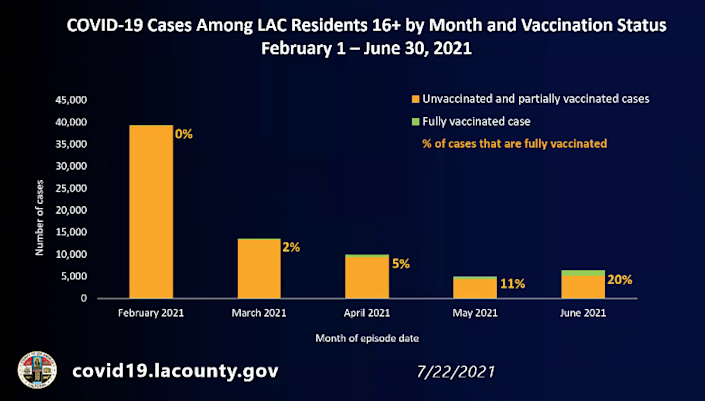 COVID-19 cases among L.A. County residents 16+ by month and vaccination status