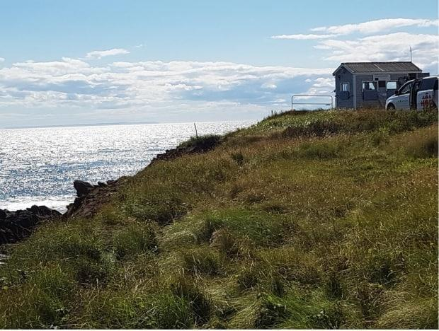 The tiny observatory at Point Lepreau, one of the most southern points of mainland New Brunswick. The Saint John Naturalists Club has been counting seabirds during migration since the mid-'90s. They began tagging migrating monarch butterflies here in 2006. (Steven Webb/CBC - image credit)