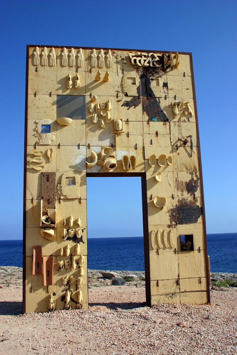 Mediterranean Island of Lampedusa between Sicily and Malta , Lampedusa Gate to Europe, monument in memory of migrants drowned in the attempt to reach Europe from North Africa . Every year, thousands of migrants and refugees from Africa pay smugglers to help them cross the Mediterranean sea and reach the island. (Photo by: Andia/UIG via Getty Images)