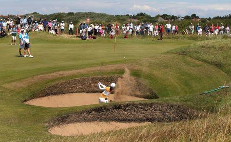 Golf - RICOH Women's British Open 2014 - Royal Birkdale Golf Club, Southport, Lancashire, England - 11/7/14  Japan's Ayako Uehara plays out of the bunker at the 8th hole during the second round  Mandatory Credit: Action Images / Paul Childs  Livepic