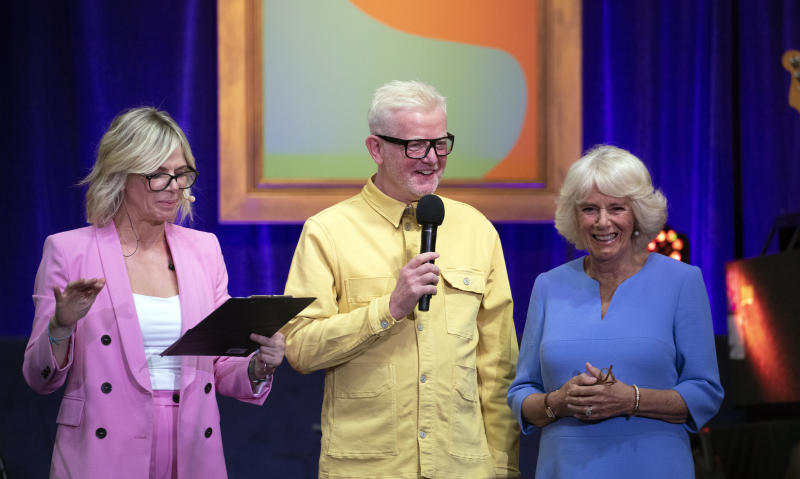 WINDSOR, ENGLAND - JUNE 14: Zoe Ball, Chris Evans and Camilla, Duchess of Cornwall attend the live broadcast of the final of BBC Radio 2's 500 Words creative writing competition at Windsor Castle on June 14, 2019 in Windsor, England. (Photo by Steve Parsons - WPA Pool/Getty Images)