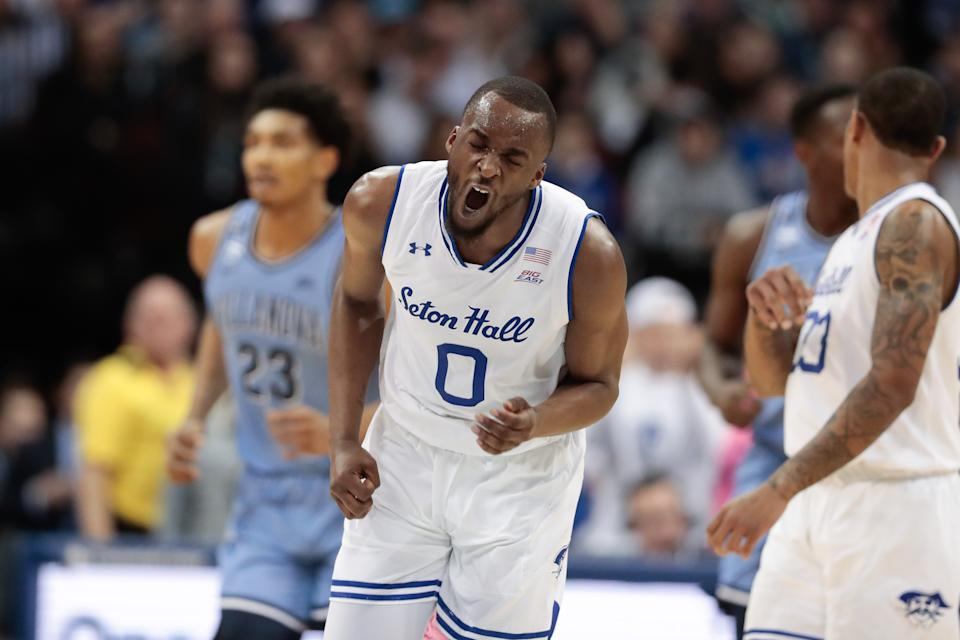 Mar 4, 2020; Newark, New Jersey, USA; Seton Hall Pirates guard Quincy McKnight (0) reacts after making a basket against the Villanova Wildcats during the first half at Prudential Center. Mandatory Credit: