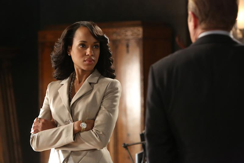 """This publicity image released by ABC shows Kerry Washington is in scene from """"Scandal."""" Washington was nominated for an Emmy Award for best actress in a drama series on, Thursday July 18, 2013. The Academy of Television Arts & Sciences' Emmy ceremony will be hosted by Neil Patrick Harris. It will air Sept. 22 on CBS. (AP Photo/ABC, Danny Feld)"""