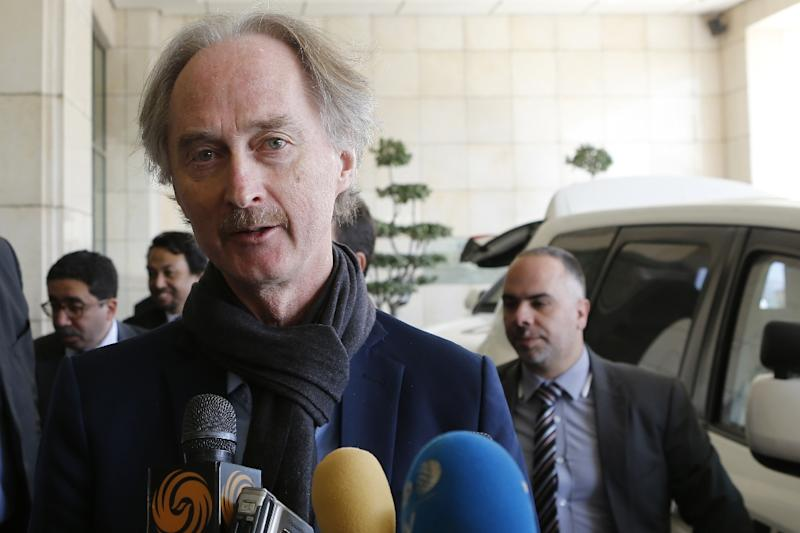 United Nations Special Envoy for Syria Geir Pedersen speaks to the press upon his arrival in the capital Damascus on March 17, 2019