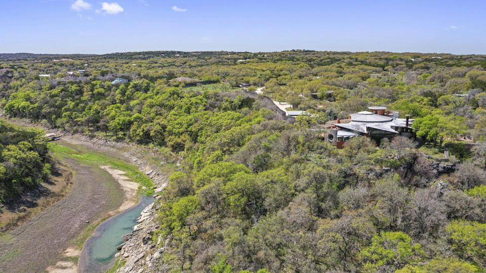 <p>This unique home is situated on nearly 30 acres in Spicewood, Texas, off the Pedernales River.</p>