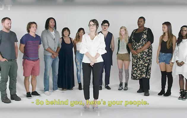 Four volunteers were asked to pick out the sex workers in this line-up. Photo: Youtube