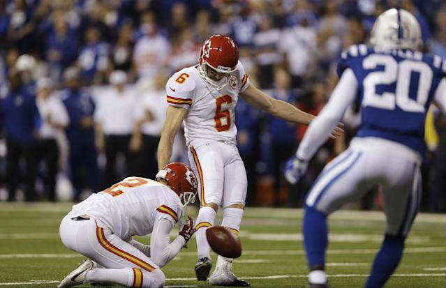 Kansas City Chiefs kicker Ryan Succop (6) kicks a 19-yard field goal against the Indianapolis Colts during the first half of an NFL wild-card playoff football game Saturday, Jan. 4, 2014, in Indianapolis. (AP Photo/Michael Conroy)