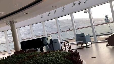 Furniture is seen while a cruise ship Viking Sky is listing, after an engine failure, Hustadvika, Norway March 23, 2019, in this still image obtained from a social media video.   ALEXUS SHEPPARD/via REUTERS