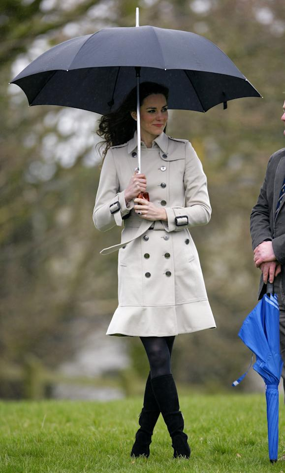 <p>Come cold weather, Kate turns to popular British brand Burberry for its signature trenches. </p>