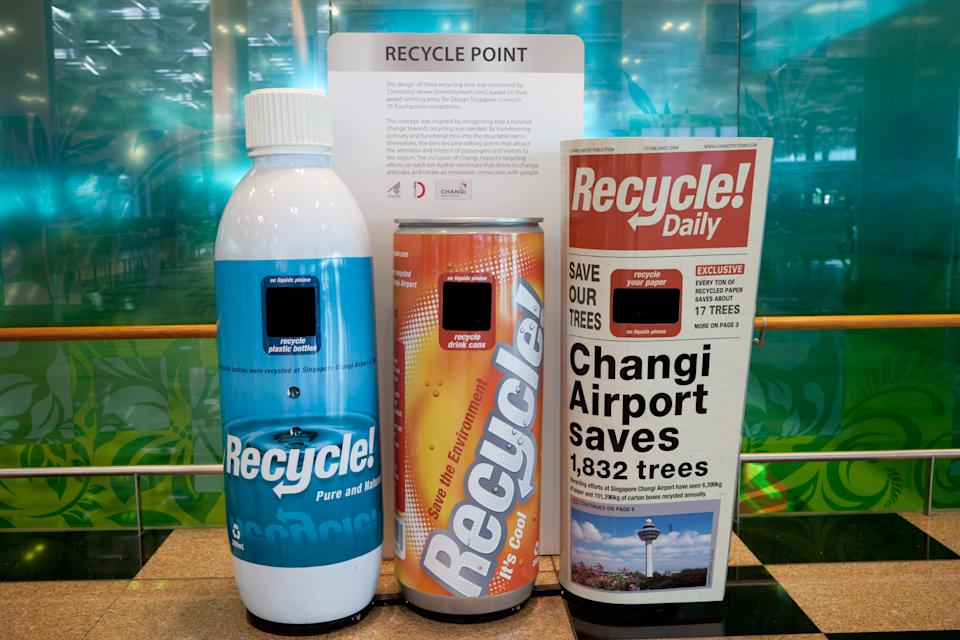 Singapore recycling bins at Changi Airport in Singapore. (Getty Images)