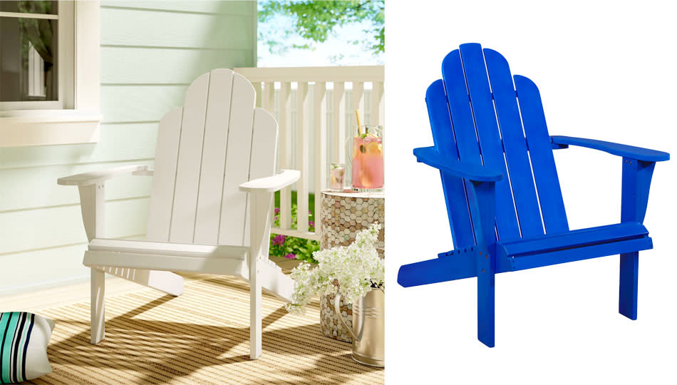 The Selkirk Solid Wood Adirondack Chair comes in traditional white or electric blue. (Photo: Wayfair)