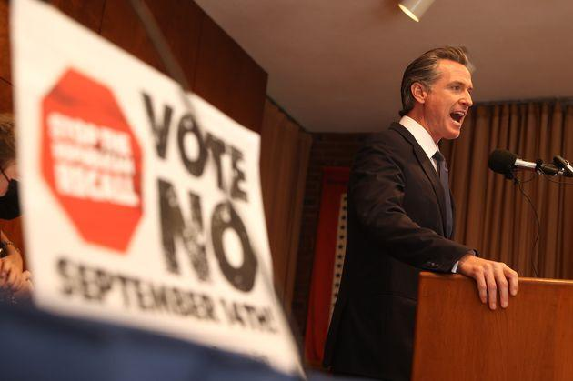 California Gov. Gavin Newsom (D) speaks to union workers and volunteers on Election Day at the IBEW Local 6 union hall on Sept. 14, 2021, in San Francisco. (Photo: Justin Sullivan via Getty Images)