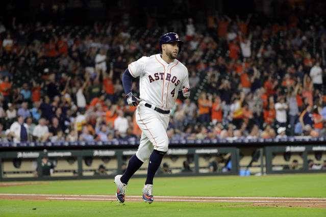 Houston Astros' George Springer (4) runs the bases after hitting a home run against the Oakland Athletics during the first inning of a baseball game Tuesday, Sept. 10, 2019, in Houston. (AP Photo/David J. Phillip)