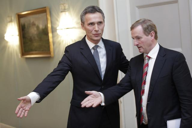 OSLO, NORWAY - DECEMBER 10: Norwegian Prime Minister Jens Stoltenberg (L) is followed by Irish prime minister Enda Kenny before addressing the press after a working luncheon at the Gamle Logen hosted by Norway's Prime Minister for the EU leaders while they attend the Nobel Peace Prize Award Ceremony at Oslo City Hall on December 10, 2012 in Oslo, Norway. The European Union is collecting this year's prestigious Nobel Peace Prize for uniting the continent after two World Wars especially while during economic crisis. (Photo by Daniel Sannum-Lauten-Pool/Getty Images)