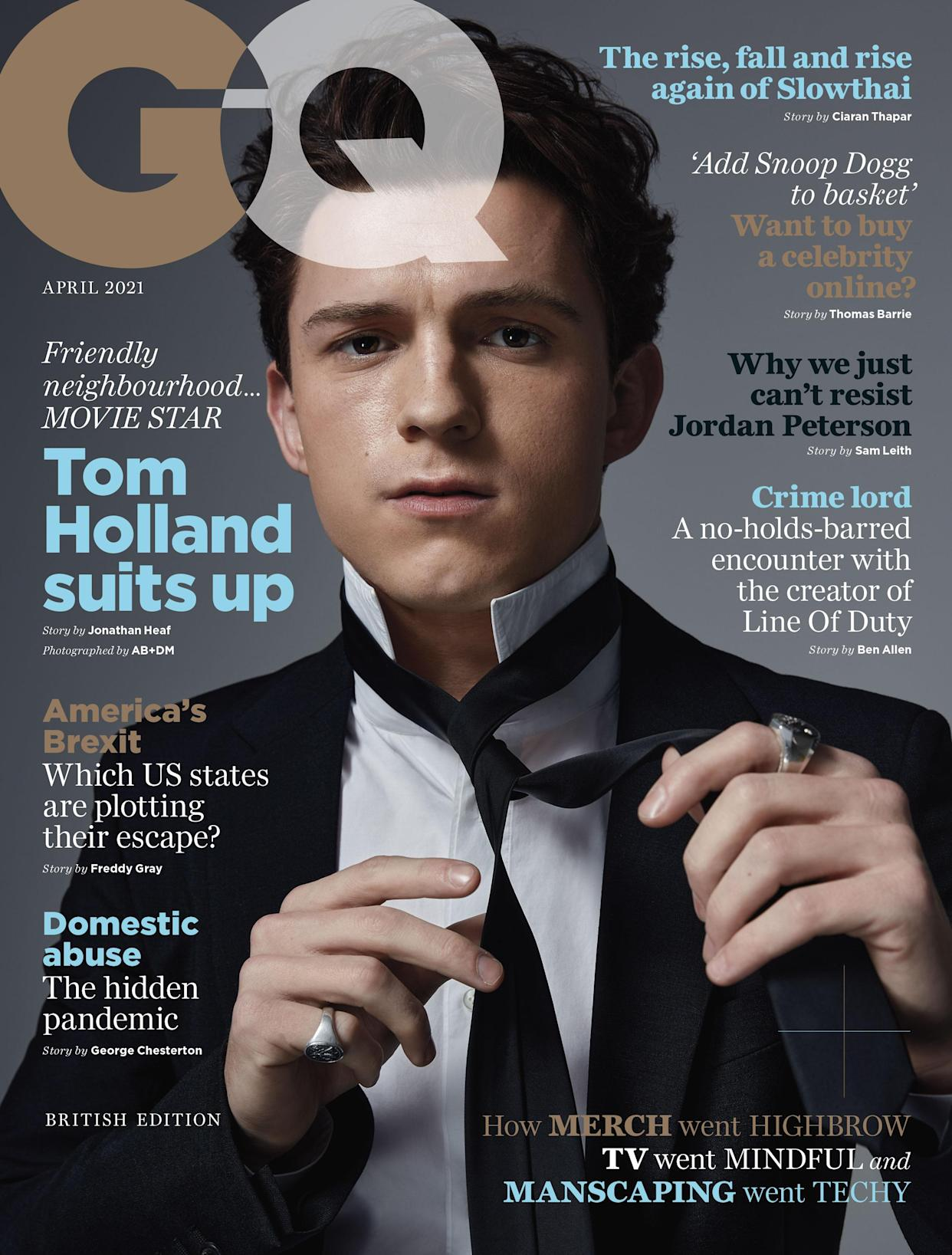 Tom Holland is the cover star on the April edition of British GQ (GQ/PA)