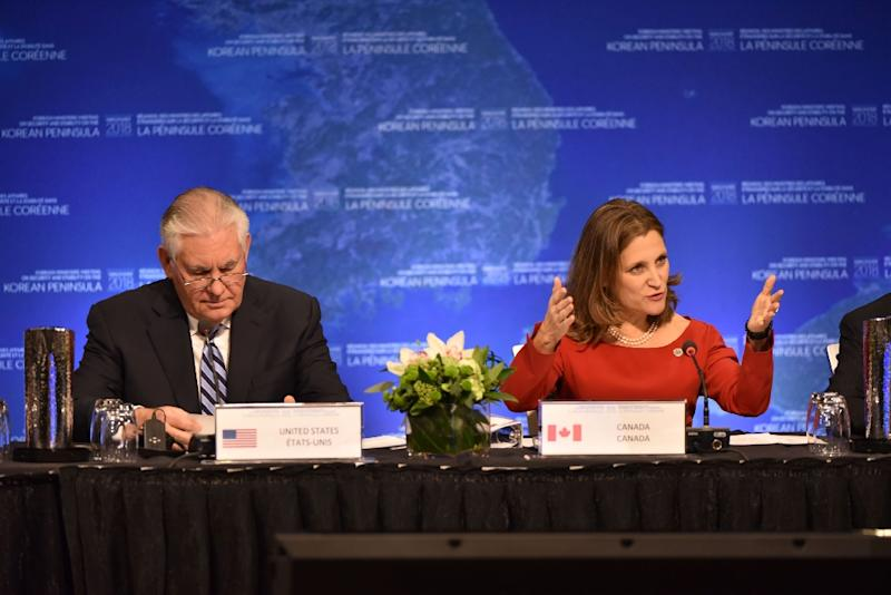 Chrystia Freeland, Canada's Minister of Foreign Affairs, and US Secretary of State Rex Tillerson are co-hosting the North Korea talks in Vancouver (AFP Photo/Don MacKinnon)