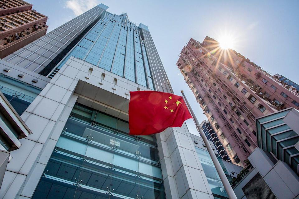 The Chinese flag flies outside the central government's liaison office in Hong Kong's Sai Ying Pun. Photo: Bloomberg