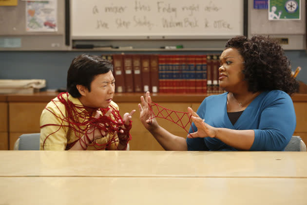 """History 101"" Episode 401 -- Pictured: (l-r) Ken Jeong as Chang, Yvette Nicole Brown as Shirley"