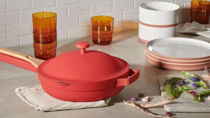 The Always Pan heats up quickly, letting you get out of the kitchen faster.
