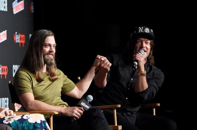 Tom Payne and Norman Reedus attend the NYCC <i>The Walking Dead</i> panel at The Theater at Madison Square Garden on October 7, 2017 in New York City (Photo by Jamie McCarthy/Getty Images for AMC)