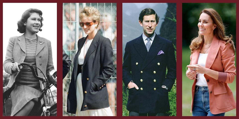 """<p>The royal family has a lot of signature style characteristics. For example, tiaras and brooches and brightly color skirt suits. Another thing in common, whether you're Prince Charles, <a href=""""https://www.townandcountrymag.com/style/fashion-trends/news/g1633/kate-middleton-fashion/"""" rel=""""nofollow noopener"""" target=""""_blank"""" data-ylk=""""slk:Kate Middleton"""" class=""""link rapid-noclick-resp"""">Kate Middleton</a> or<a href=""""https://www.townandcountrymag.com/style/fashion-trends/g3272/meghan-markle-preppy-style/"""" rel=""""nofollow noopener"""" target=""""_blank"""" data-ylk=""""slk:Meghan Markle"""" class=""""link rapid-noclick-resp""""> Meghan Markle</a>? A good old fashioned blazer. The style staple to the masses also happens to be the cornerstone of a royal wardrobe too. The royal family really is just like us. See here how they wear them—and take particular note of the iconic Princess Diana <a href=""""https://www.townandcountrymag.com/style/fashion-trends/a32452018/cute-sweatpants-outfits/"""" rel=""""nofollow noopener"""" target=""""_blank"""" data-ylk=""""slk:wearing sweats"""" class=""""link rapid-noclick-resp"""">wearing sweats</a> and an army green blazer moment.</p>"""
