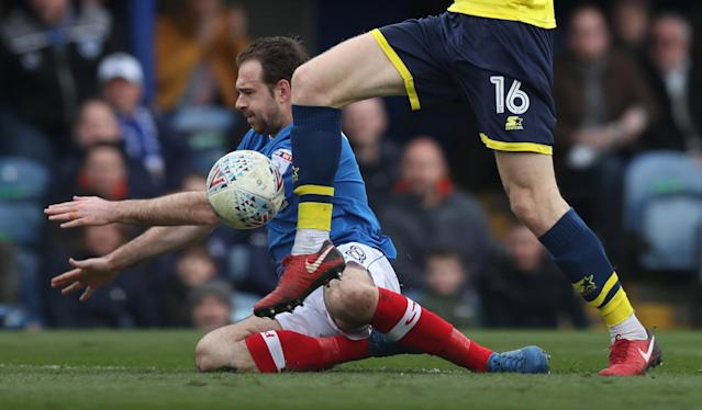 "Soccer Football - League One - Portsmouth vs Oxford United - Fratton Park, Portsmouth, Britain - March 25, 2018 Portsmouth's Brett Pitman in action Action Images/Peter Cziborra EDITORIAL USE ONLY. No use with unauthorized audio, video, data, fixture lists, club/league logos or ""live"" services. Online in-match use limited to 75 images, no video emulation. No use in betting, games or single club/league/player publications. Please contact your account representative for further details."
