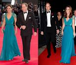 <p>Middleton wore this teal Jenny Packham gown with lace detailing to the 2012 Olympic Gala, bringing it back into circulation for the Tusk Conservation Awards in November 2018. </p>