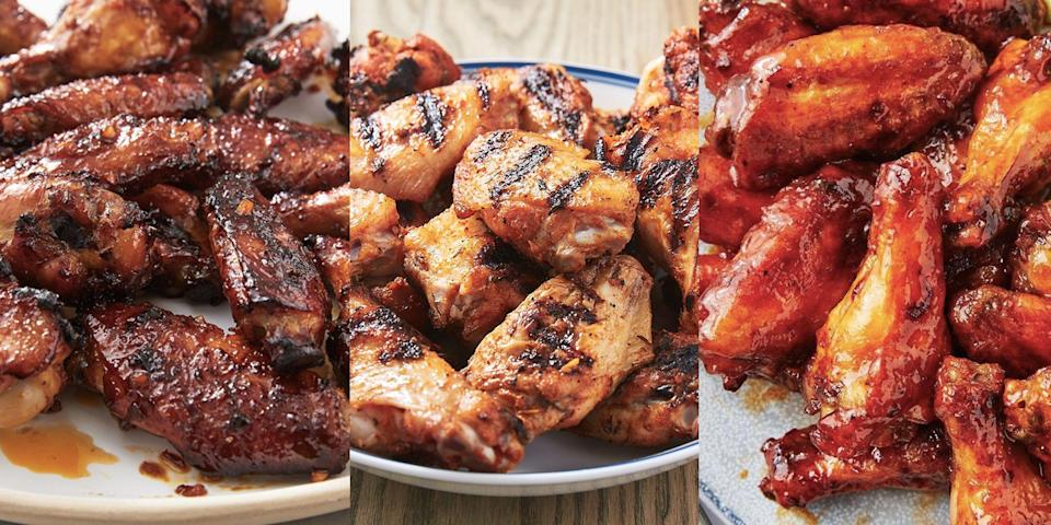 """<p>Regardless of how they're cooked, <a href=""""https://www.delish.com/uk/chicken-recipes/"""" rel=""""nofollow noopener"""" target=""""_blank"""" data-ylk=""""slk:chicken"""" class=""""link rapid-noclick-resp"""">chicken</a> wings always seem to hit the spot. Crispy-skinned and with the right level of juiciness, there's just nothing like a freshly-prepared batch of chicken wings. We're talking about <a href=""""https://www.delish.com/uk/cooking/a35126959/grilled-chicken-wings-recipe/"""" rel=""""nofollow noopener"""" target=""""_blank"""" data-ylk=""""slk:Grilled Chicken Wings"""" class=""""link rapid-noclick-resp"""">Grilled Chicken Wings</a>, <a href=""""https://www.delish.com/uk/cooking/recipes/a30638308/easy-oven-baked-chicken-wings/"""" rel=""""nofollow noopener"""" target=""""_blank"""" data-ylk=""""slk:Baked Chicken Wings"""" class=""""link rapid-noclick-resp"""">Baked Chicken Wings</a> and even <a href=""""https://www.delish.com/uk/cooking/recipes/a32262330/air-fryer-chicken-wings-recipe/"""" rel=""""nofollow noopener"""" target=""""_blank"""" data-ylk=""""slk:Air Fried Chicken Wings"""" class=""""link rapid-noclick-resp"""">Air Fried Chicken Wings</a>. Not to mention, all the delicious-tasting marinades (<a href=""""https://www.delish.com/uk/cooking/recipes/a35642664/balsamic-glazed-wings-recipe/"""" rel=""""nofollow noopener"""" target=""""_blank"""" data-ylk=""""slk:balsamic glazed"""" class=""""link rapid-noclick-resp"""">balsamic glazed</a>, <a href=""""https://www.delish.com/uk/cooking/recipes/a35642591/cilantro-lime-wings-recipe/"""" rel=""""nofollow noopener"""" target=""""_blank"""" data-ylk=""""slk:coriander lime"""" class=""""link rapid-noclick-resp"""">coriander lime</a> and <a href=""""https://www.delish.com/uk/cooking/recipes/a29571609/classic-buffalo-wings-recipe/"""" rel=""""nofollow noopener"""" target=""""_blank"""" data-ylk=""""slk:buffalo"""" class=""""link rapid-noclick-resp"""">buffalo</a>). So, if you're after a selection of easy-to-make chicken wing recipes, we've got you covered! </p><p>Need some super-simple <a href=""""https://www.delish.com/uk/cooking/recipes/g32997531/summer-salads/"""" rel=""""nofollow noopener"""" target=""""_blank"""" data-ylk=""""slk"""
