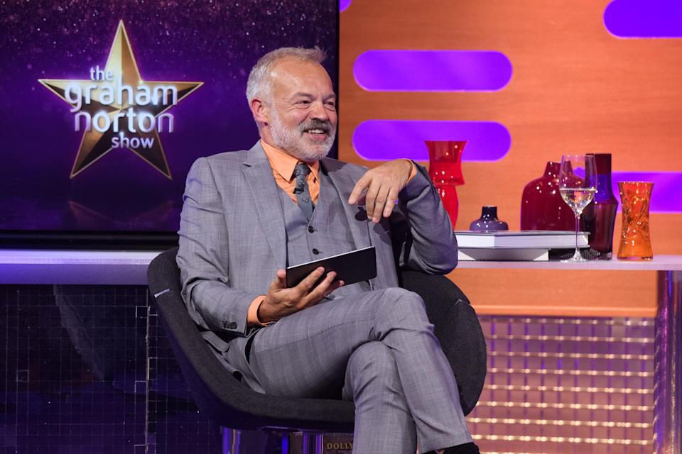 Graham Norton during the filming for the Graham Norton Show at BBC Studioworks 6 Television Centre, Wood Lane, London, to be aired on BBC One on Friday evening. (Photo by Matt Crossick/PA Images via Getty Images)