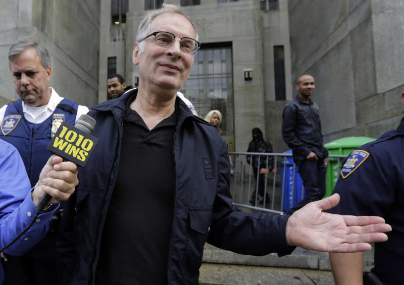 Bernhard Goetz leaves Manhattan criminal court, in New York, Saturday, Nov. 2, 2013. Subway vigilante Goetz, who ignited a national furor over racism and gun control after he shot four panhandling youths on a train in the 1980s, was arrested on drug charges. (AP Photo/Richard Drew)