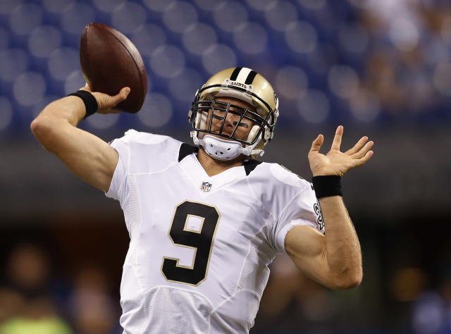 New Orleans Saints quarterback Drew Brees throws before an preseason NFL football game against the Indianapolis Colts in Indianapolis, Saturday, Aug. 23, 2014. (AP Photo/Sam Riche)