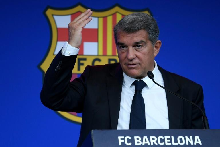 Laporta was giving his first press conference as Barca president