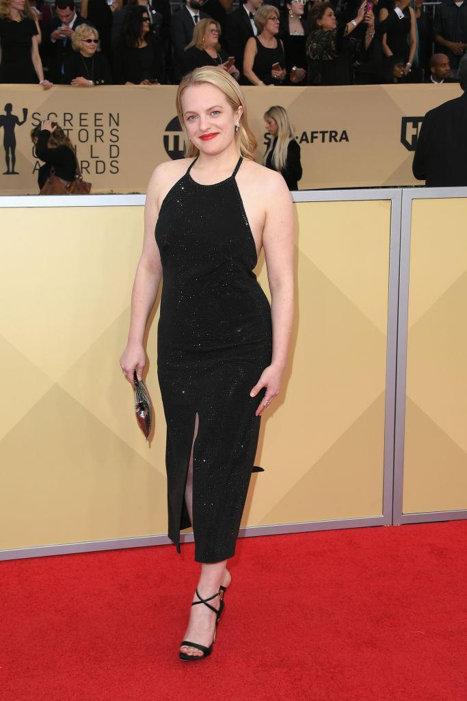 <p><em>The Handsmaid's Tale</em> actress paired Giuseppe Zanotti heels with her sparkling black dress. (Photo: Getty Images) </p>