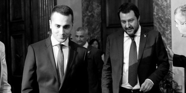 ROME, ITALY - JUNE 01: (EDITORS NOTE: Image has been converted to black and white.) Labor and Industry MInister and Deputy PM Luigi Di Maio and Interior Minister and Deputy PM Matteo Salvini (R) arrive to attend the first session of the council of ministers at Palazzo Chigi on June 1, 2018 in Rome, Italy.
