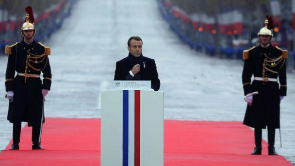 PHOTO: French President Emmanuel Macron delivers a speech during a ceremony at the Arc de Triomphe in Paris as part of the commemorations marking the 100th anniversary of the Nov. 11, 1918 armistice, ending World War I, Nov. 11, 2018. (Ludovic Marin/Pool Photo via AP)