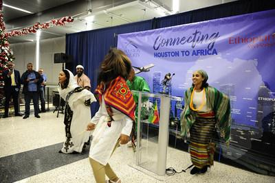 Ethiopian dancers celebrate the new Houston-West Africa air services at the international arrivals terminal at George Bush Intercontinental Airport.