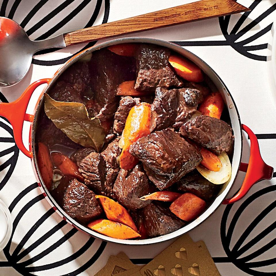 "<p>The Vice President for the Southern division of Sears, Roebuck, and Co. sent us this recipe after a trip to France.</p> <p><a href=""https://www.myrecipes.com/recipe/beef-burgundy-stew"">Beef Burgundy Stew Recipe</a></p>"