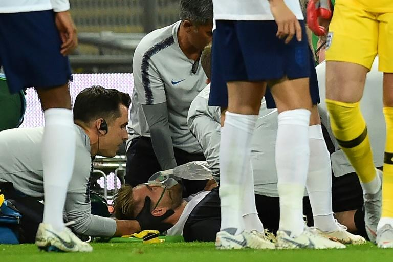 England's Luke Shaw was stretchered off with a head injury