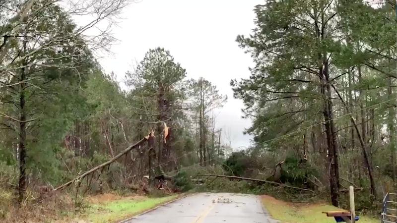 Fallen trees obstruct a road following a tornado in Beauregard, Alabama, U.S. in this March 3, 2019 still image obtained from social media video. (Photo: Scott Fillmer /via Reuters)