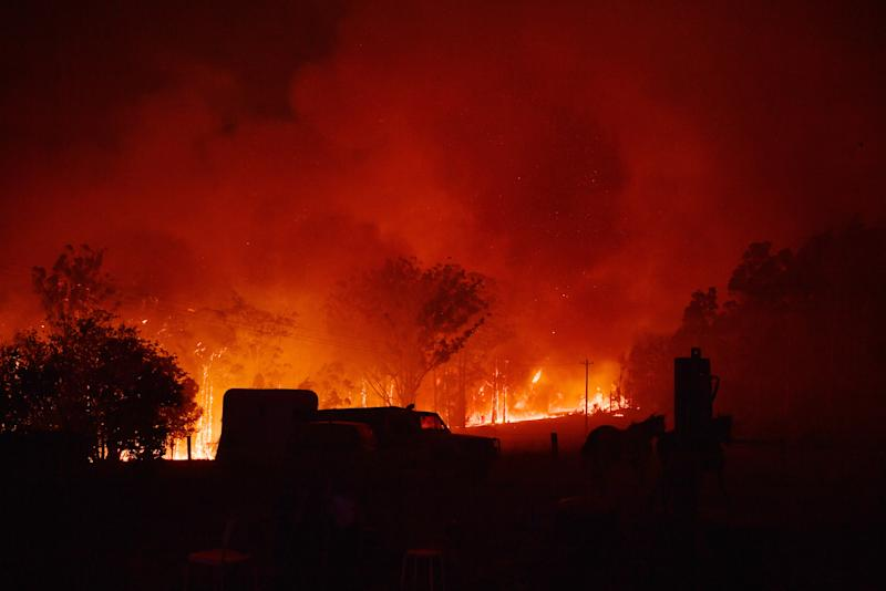 Pictured are flames from the Currowan fire near Termiel at night.