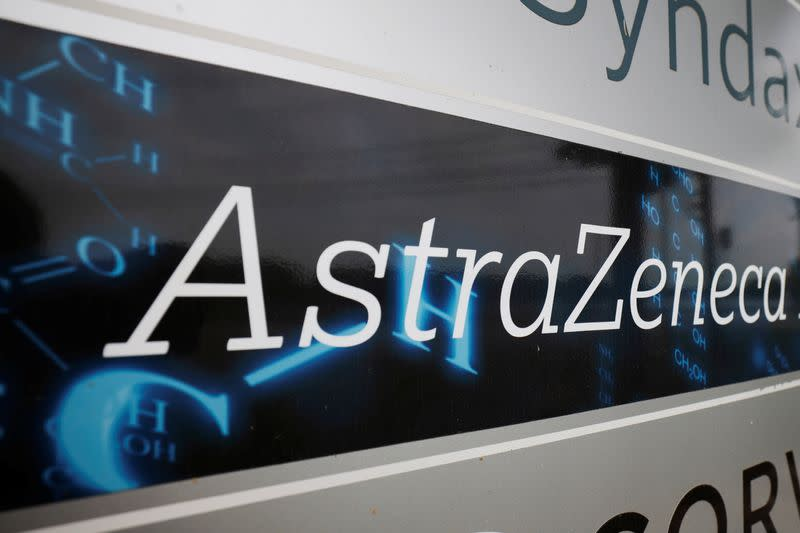 A sign marks an AstraZeneca facility in Waltham