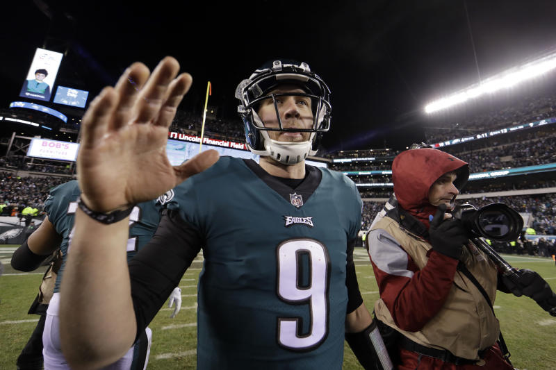 "Nick Foles' teammates were happy to defend their quarterback after Saturday's victory against Atlanta. ""You guys doubted him,"" Alshon Jeffrey said. ""We never doubted him. We never said that."" (AP)"