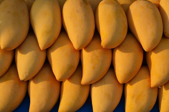 <p>Mangoes have high levels of potassium, which is a necessary electrolyte that alkalises the body, and regulates the contraction and growth of muscles. </p>
