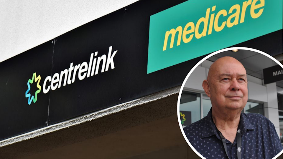 An image of the Centrelink sign and Services Australia general manager Hank Jongen