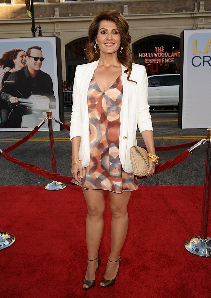 "<a href=""http://movies.yahoo.com/movie/contributor/1804536542"">Nia Vardalos</a> at the Los Angeles premiere of <a href=""http://movies.yahoo.com/movie/1810196533/info"">Larry Crowne</a> on June 27, 2011."