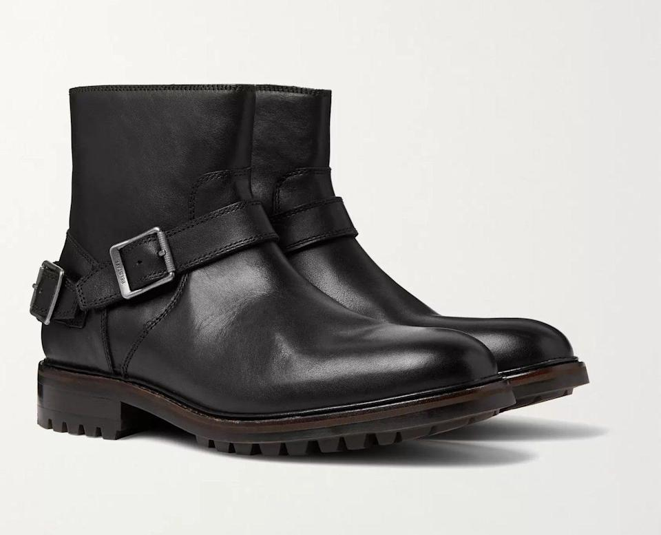 black leather boots strap mens