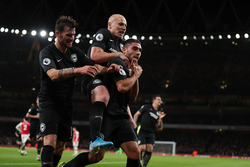 LONDON, ENGLAND - DECEMBER 05: Neal Maupay of Brighton and Hove Albion celebrates after scoring a goal to make it 1-2 during the Premier League match between Arsenal FC and Brighton & Hove Albion at Emirates Stadium on December 5, 2019 in London, United Kingdom. (Photo by James Williamson - AMA/Getty Images)
