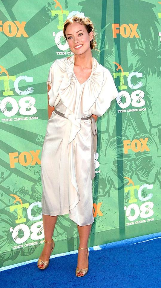 "Olivia Wilde is beyond beautiful, but this baggy mess missed the mark. Steve Granitz/<a href=""http://www.wireimage.com"" target=""new"">WireImage.com</a> - August 3, 2008"