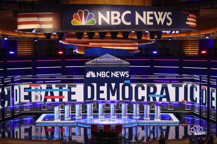 The stage is set for the first Democratic presidential debate for the 2020 election at the Adrienne Arsht Center for the Performing Arts on June 26 in Miami. (Photo: Drew Angerer/Getty Images)