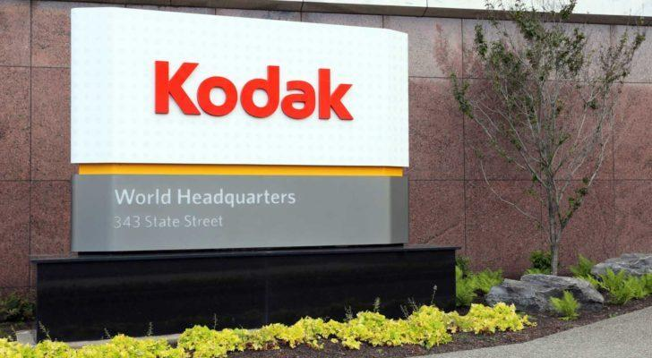 Kodak (KODK) logo on sign at company headquarters